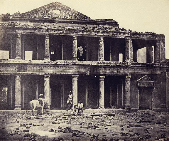 Interior of the Secundra Bagh after the Slaughter of 2,000 Rebels by the 93rd Highlanders and 4th Punjab Regt.  First Attack of Sir Colin Cambpell in November, 1857.  1858