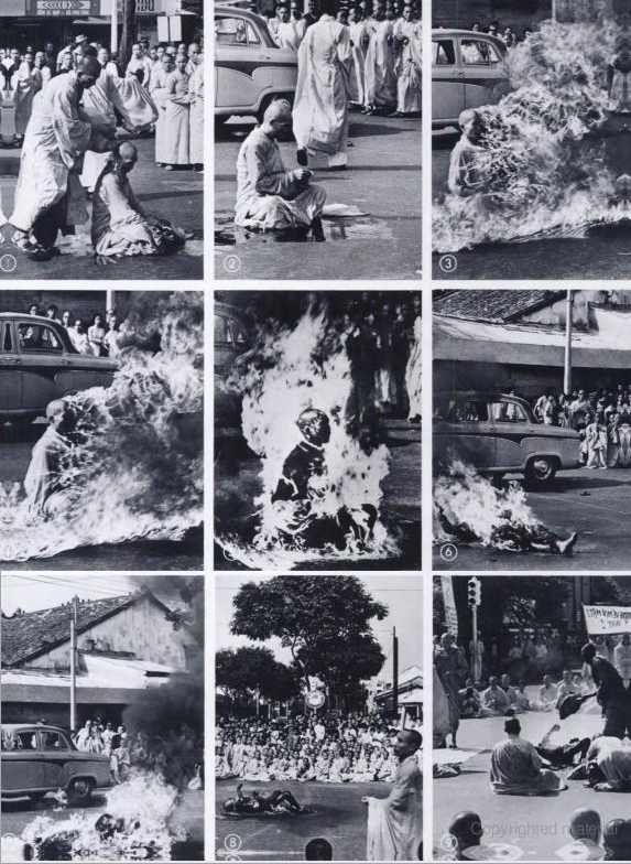 Thich Quang Duc's self-immolation that set of the Vietnam War and end of colonialism in Vietnam.  |  Image by Malcolm Browne; source and courtesy - iconicphotos.files.wordpress.com|  Click for larger source image.