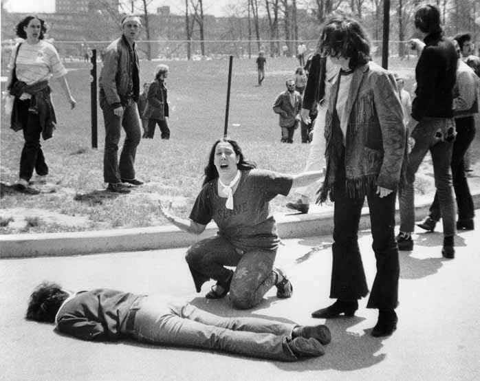 John Filo's Pulitzer Prize–winning photograph of Mary Ann Vecchio, a 14-year-old runaway, kneeling over the body of Jeffrey Miller minutes after he was fatally shot by the Ohio National Guard at Kent State University on May 4, 1970.(https://www.timesofisrael.com/remembering-the-kent-state-university-shooting-on-its-50th-anniversary)