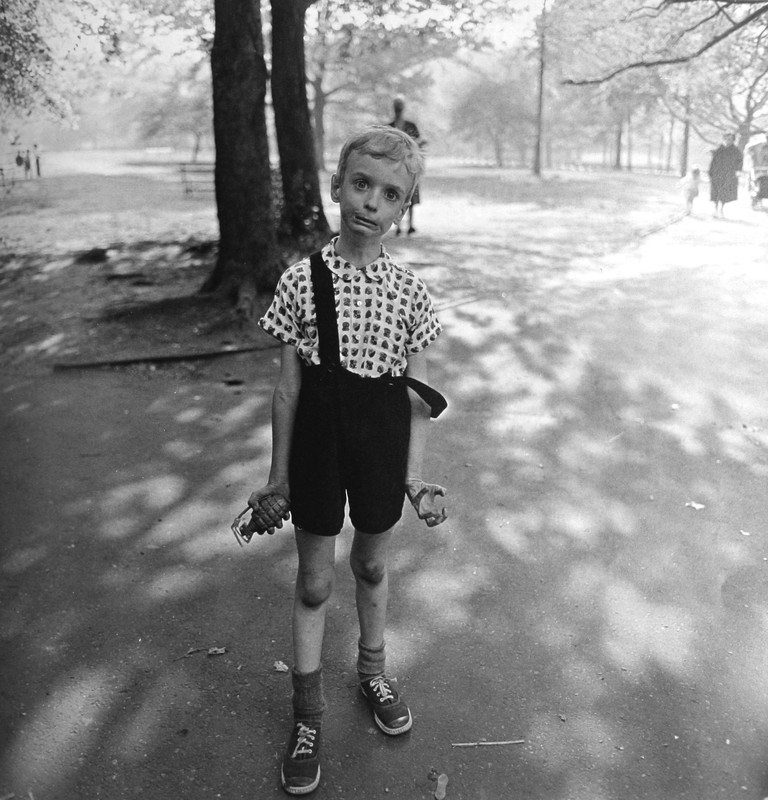 The 1962 picture of the boy with the hand grenade in Central Park seems no