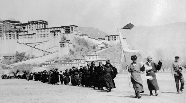 May 1959 Tibetan rebels filing out of the Potala Palace to surrender