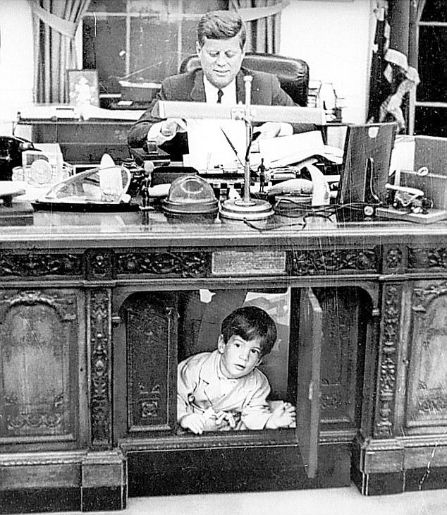 Jfk oval office Phone Iconic Photos Iconic Photos Wordpresscom John F Kennedy Jnr Under The Resolute Desk Iconic Photos