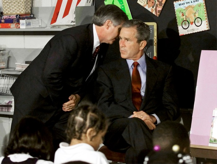 A September 11, 2001 file photo shows U.S. President Bush listening to White House Chief of Staff